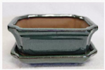 Bonsai Pot, Rectangle (IC), 15cm, Green, Glazed, Saucer